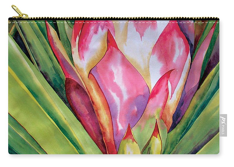 Floral Painting Carry-all Pouch featuring the painting Spanish Dagger Iv by Kandyce Waltensperger
