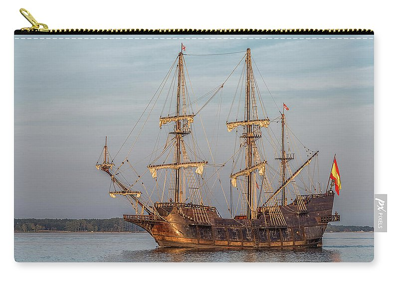 Ships Water Reflections Sailing Galleon Boats Carry-all Pouch featuring the photograph Spanish Galleon by Wayne Reynolds