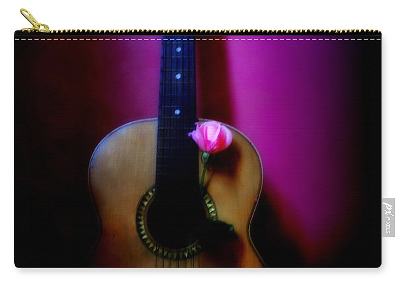 Spanish Carry-all Pouch featuring the photograph Spanish Guitar And Pink Rose by Bill Cannon