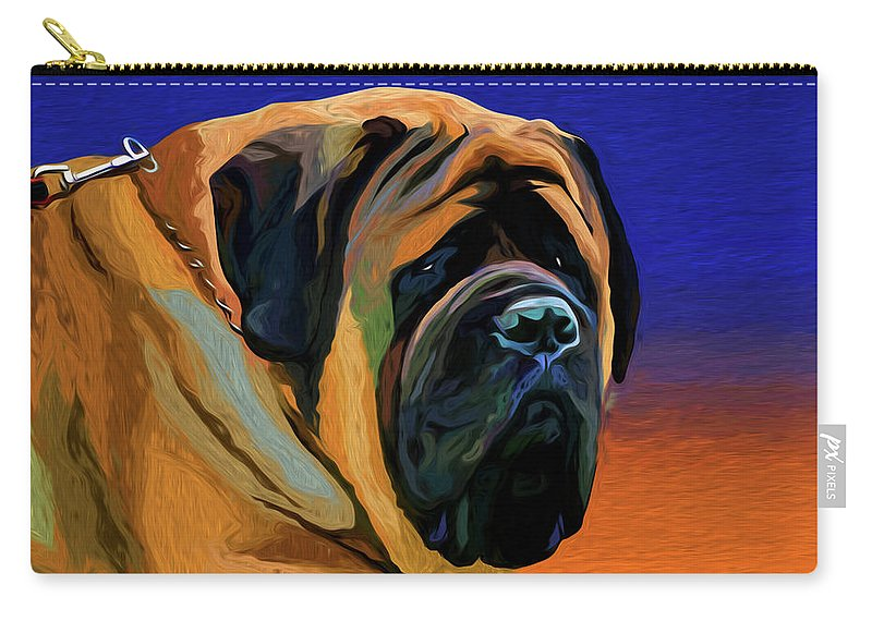 Spanish Mastiff Carry-all Pouch featuring the mixed media Spanish Mastiff by Alexey Bazhan