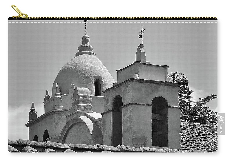 Spanish Mission Carmel By The Sea California Carry-all Pouch featuring the photograph Spanish Mission by Michael Wirmel