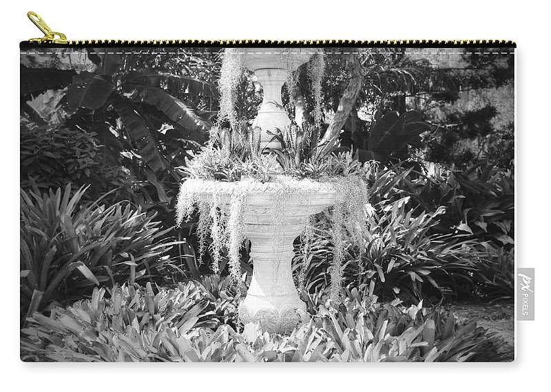 Black And White Carry-all Pouch featuring the photograph Spanish Moss Fountain With Bromeliads - Black And White by Carol Groenen