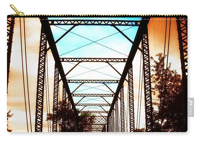 Manipulation Carry-all Pouch featuring the photograph Sparksville Bridge by Tatiana Gorbett