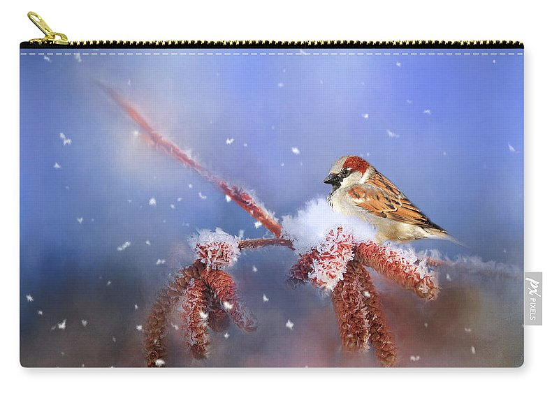 Theresa Tahara Carry-all Pouch featuring the photograph Sparrow In Winter by Theresa Tahara