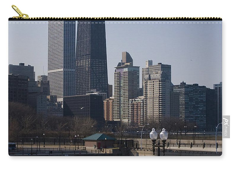 Chicago Windy City Skyline Building Skyscraper Water Lake Michigan Blue Sky Carry-all Pouch featuring the photograph Special Moment by Andrei Shliakhau