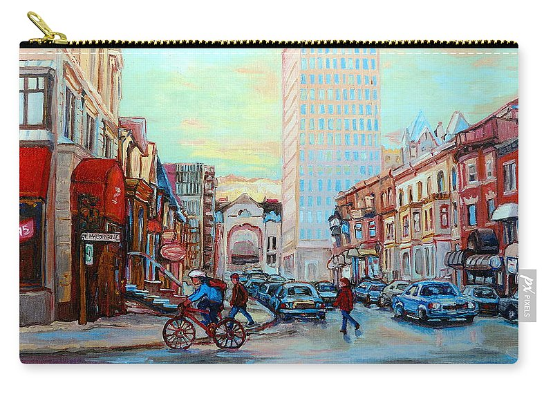 Montreal Carry-all Pouch featuring the painting Speed Cyclist On Crescent by Carole Spandau
