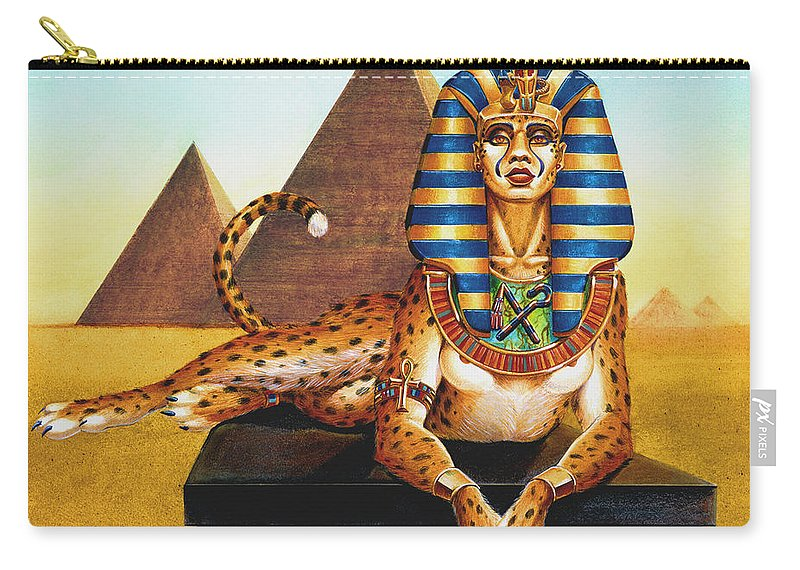 Cat Carry-all Pouch featuring the painting Sphinx On Plinth by Melissa A Benson