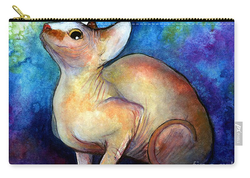 Sphynx Cat Art Carry-all Pouch featuring the painting Sphynx Cat 5 Painting by Svetlana Novikova