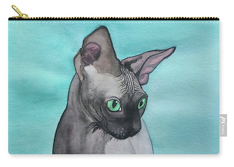 Cat Carry-all Pouch featuring the painting Sphynx by Krista LeAnn