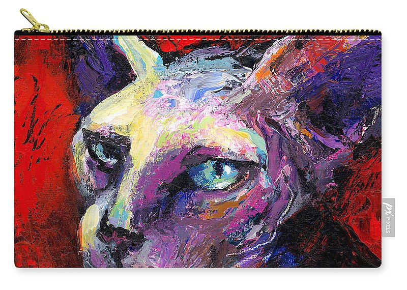 Sphinx Cat Portrait Carry-all Pouch featuring the painting Sphynx Sphinx Cat Painting by Svetlana Novikova