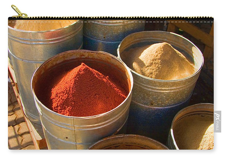 Spices Carry-all Pouch featuring the photograph Spices In Marrakesh Morroco by David Smith