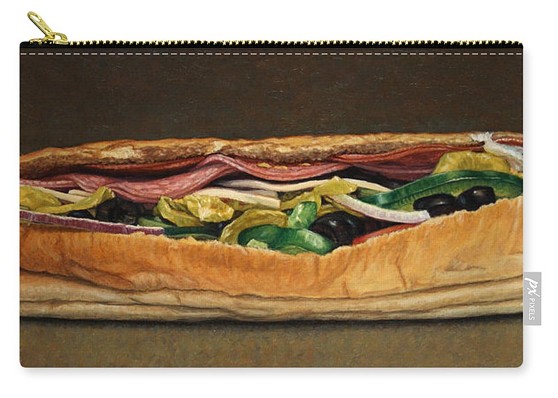 Sandwich Carry-all Pouch featuring the painting Spicy Italian by James W Johnson