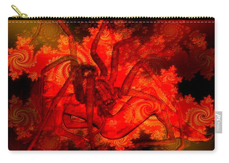 Spider Carry-all Pouch featuring the digital art Spider Catches Virgin In Space by Helmut Rottler