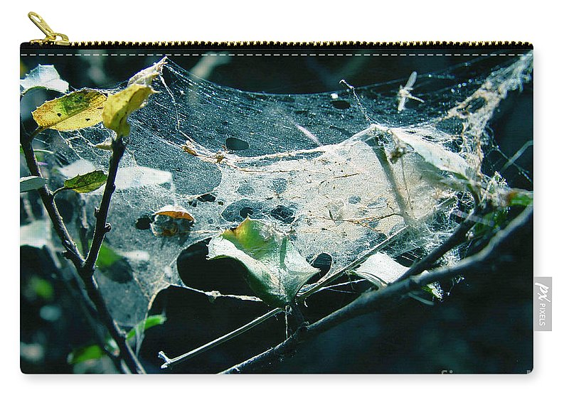 Spider Carry-all Pouch featuring the photograph Spider Web by Peter Piatt