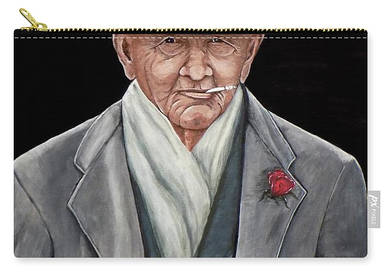 Spiffy Carry-all Pouch featuring the painting Spiffy Old Man by Judy Kirouac