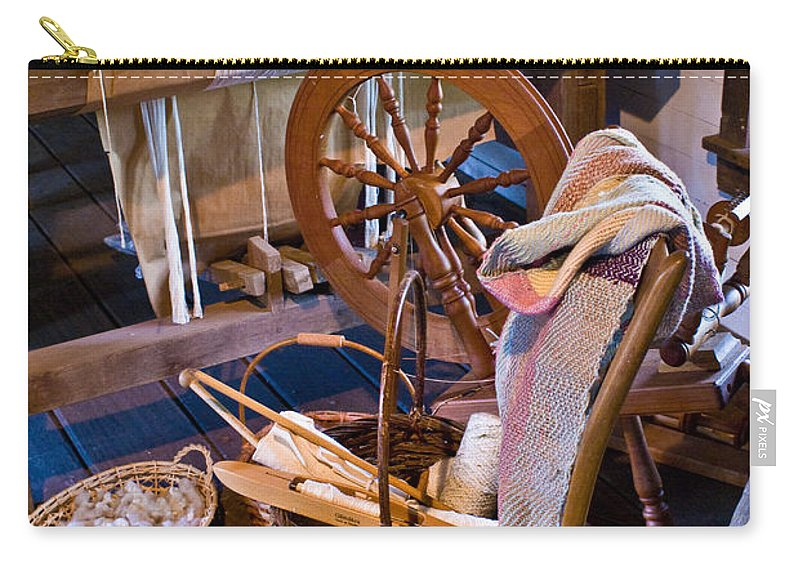 Spinning Carry-all Pouch featuring the photograph Spinning And Weaving by Douglas Barnett