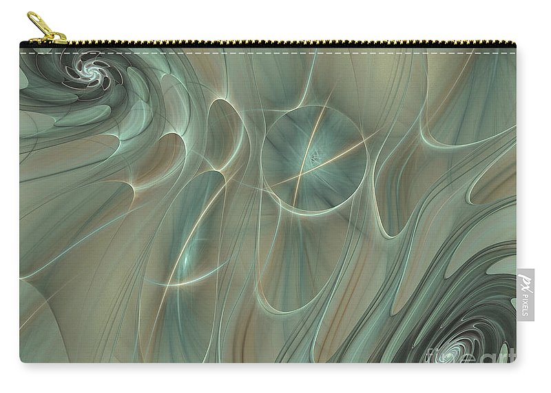 Fractal Carry-all Pouch featuring the digital art Spinning Galaxies by Deborah Benoit