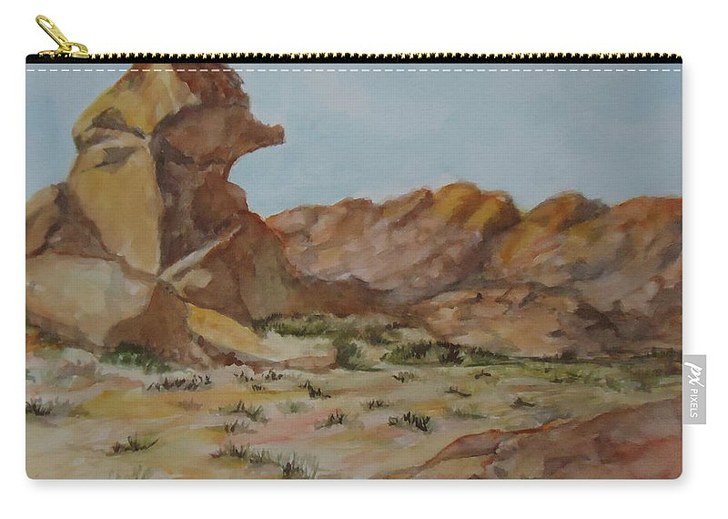 Spinx Carry-all Pouch featuring the painting Spinx In The Valley Of Fire by Charme Curtin