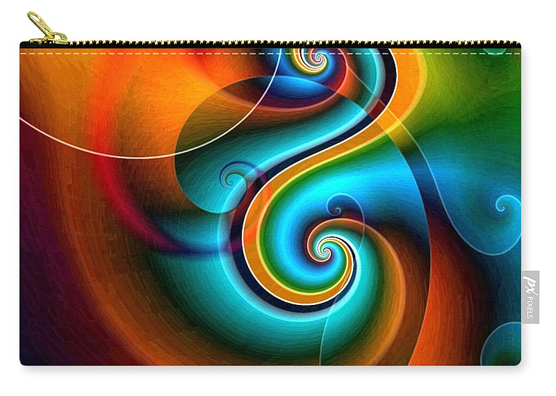 Abstract Carry-all Pouch featuring the digital art Spiral Composition 8 by Joy Arnold
