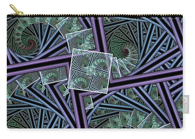 Fractal Carry-all Pouch featuring the digital art Spiral Staircases by Deborah Benoit