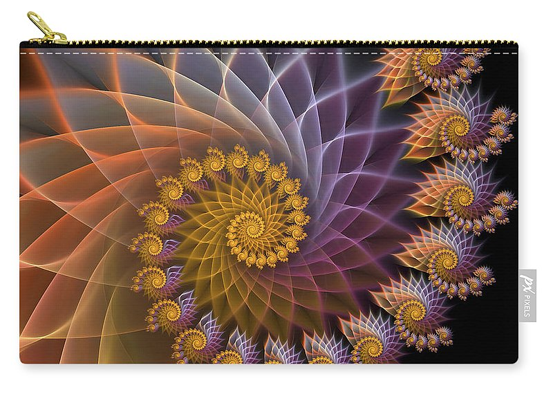 Fractal Carry-all Pouch featuring the digital art Spiralined by Amorina Ashton