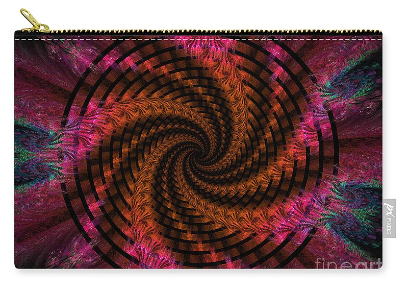 Digital Carry-all Pouch featuring the digital art Spiraling Into The Abyss by Deborah Benoit