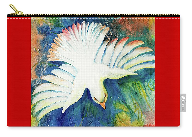 Dove Carry-all Pouch featuring the painting Spirit Fire by Nancy Cupp