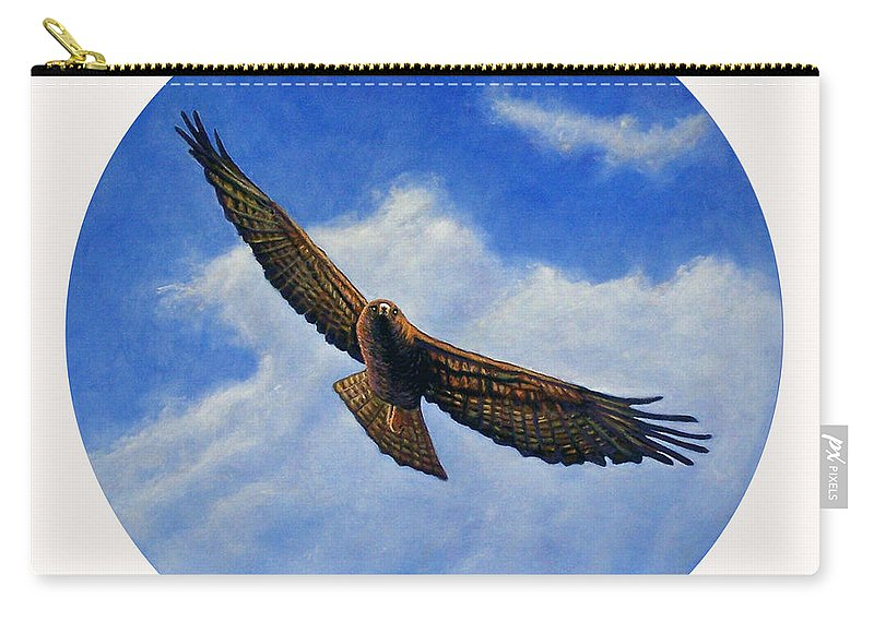 Hawk Carry-all Pouch featuring the painting Spirit In The Wind by Brian Commerford