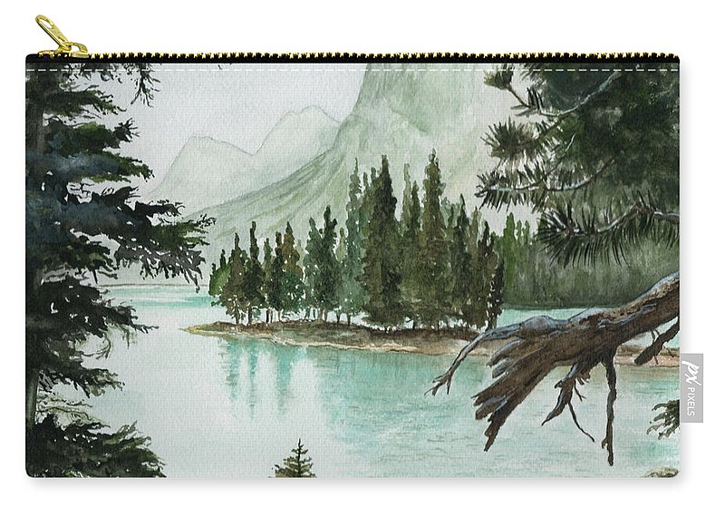 Landscape Carry-all Pouch featuring the painting Spirit Lake by Brenda Owen