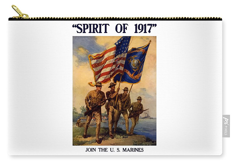 Marines Carry-all Pouch featuring the painting Spirit Of 1917 - Join The Us Marines by War Is Hell Store