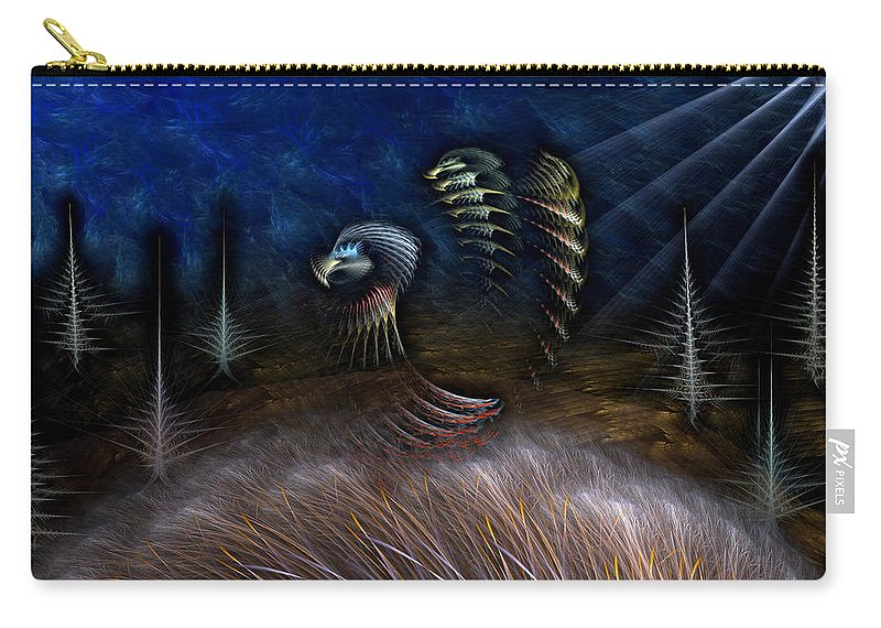 Abstract Carry-all Pouch featuring the digital art Spirit Of A Duck by Casey Kotas