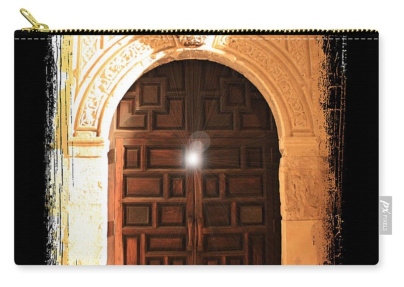 Radiant Light Carry-all Pouch featuring the photograph Spirit Of The Alamo With Framing by Carol Groenen