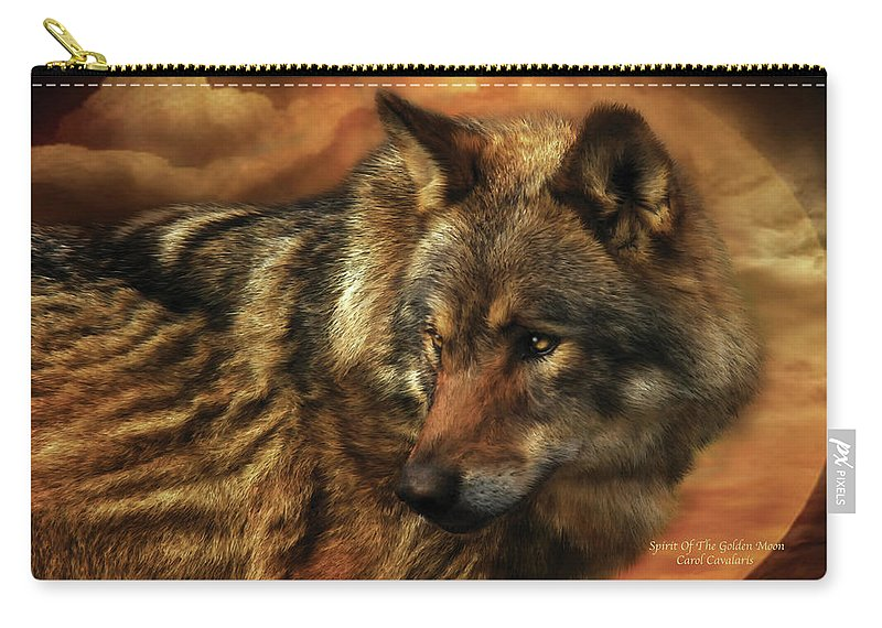 Wolf Carry-all Pouch featuring the mixed media Spirit Of The Golden Moon by Carol Cavalaris