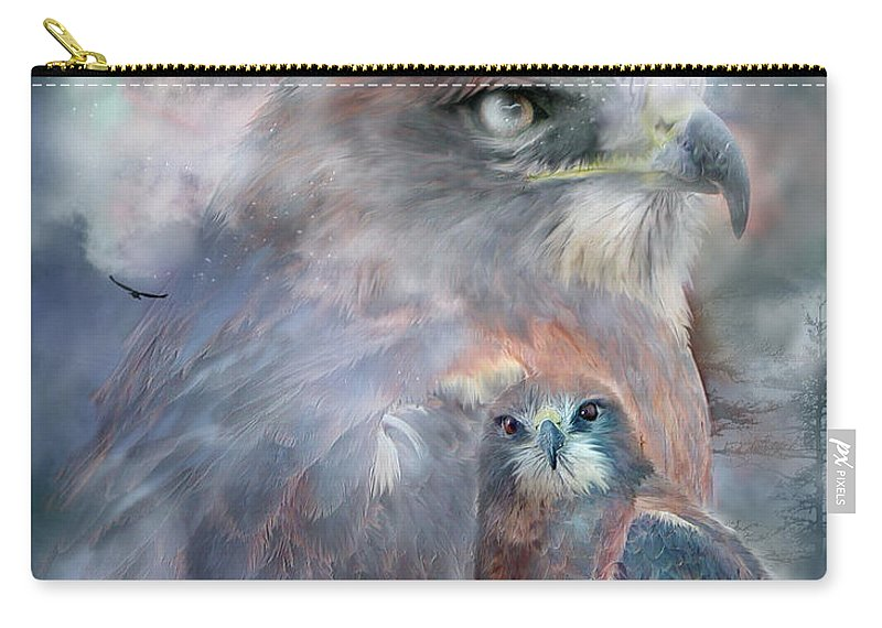 Hawk Carry-all Pouch featuring the mixed media Spirit Of The Hawk by Carol Cavalaris