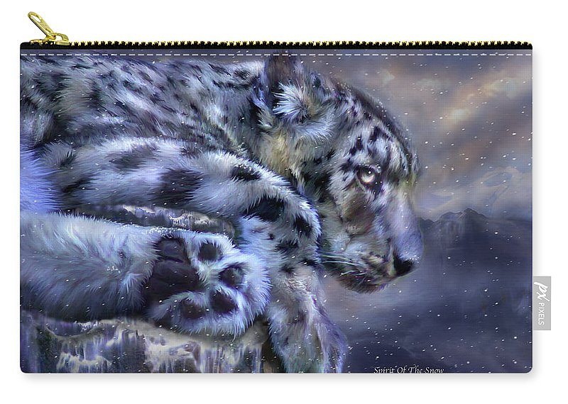 Snow Leopard Carry-all Pouch featuring the mixed media Spirit Of The Snow by Carol Cavalaris