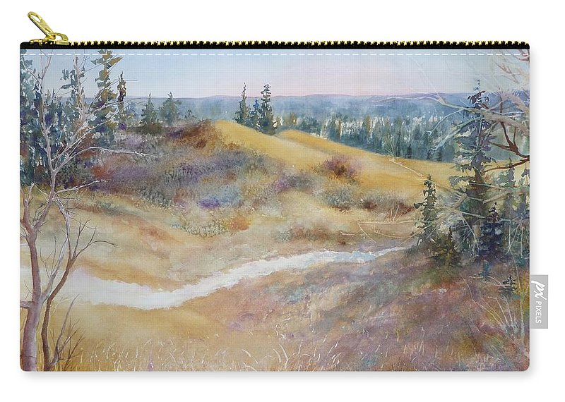 Landscape Carry-all Pouch featuring the painting Spirit Sands by Ruth Kamenev
