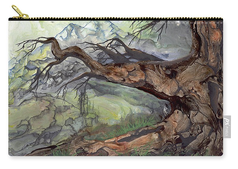 Bark Carry-all Pouch featuring the painting Spirit Tree by Sherry Shipley