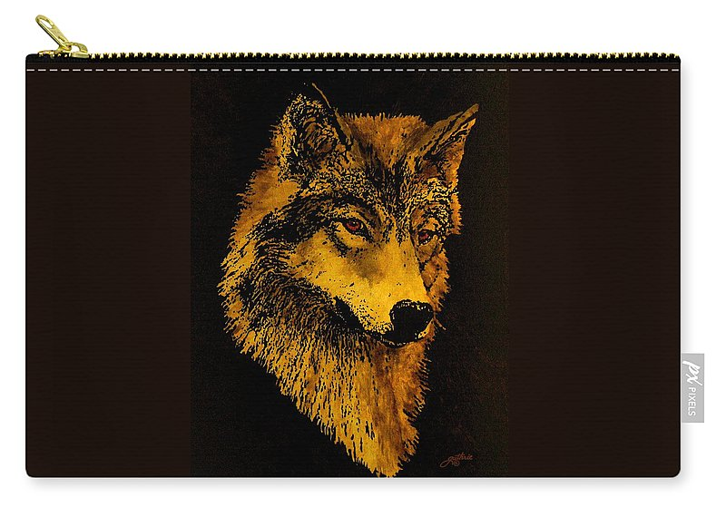 Wolf Carry-all Pouch featuring the painting Spirit Wolf by John Guthrie