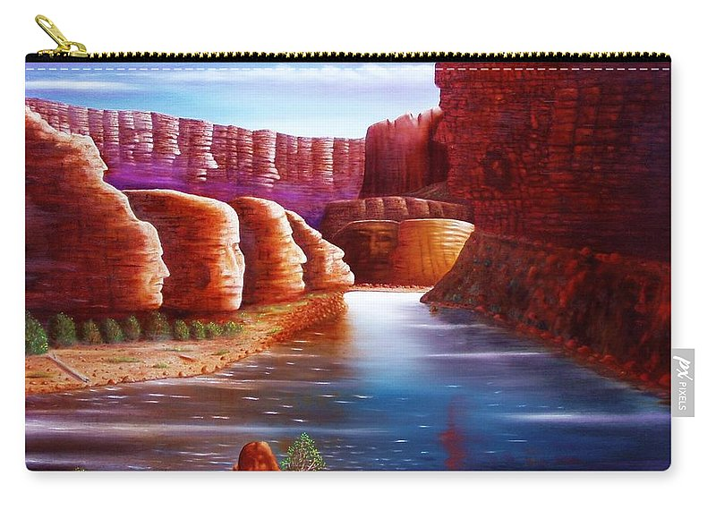River... Images In The Rocks Carry-all Pouch featuring the painting Spirits Of The River by Gene Gregory