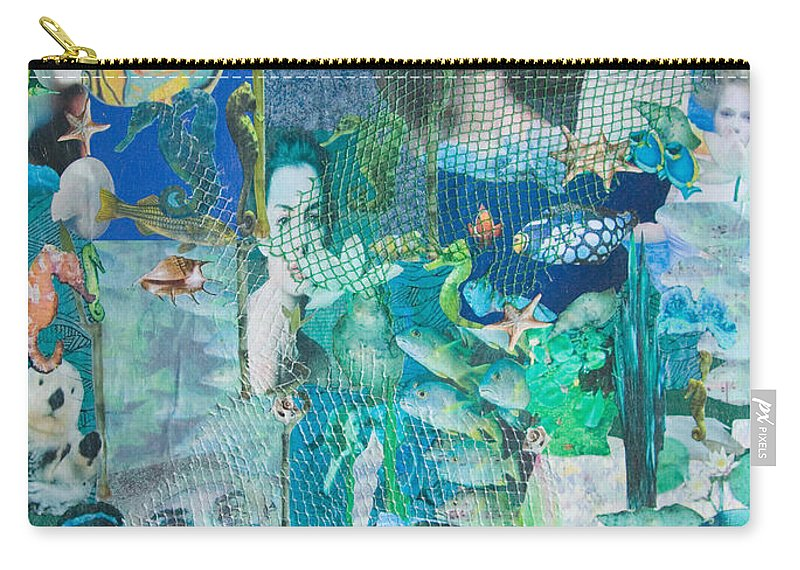 Sea Carry-all Pouch featuring the mixed media Spirits Of The Sea by Sandy McIntire