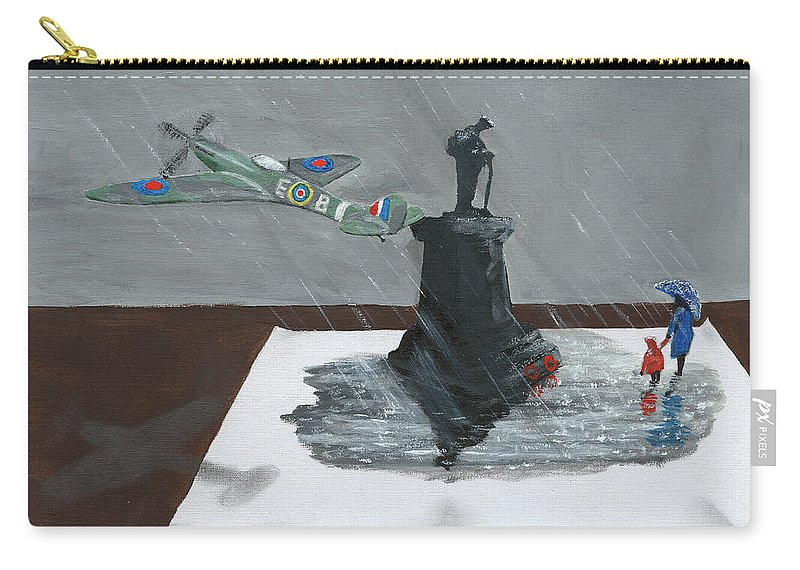 Spitfire Carry-all Pouch featuring the painting Spitfire Memorial by Dave H