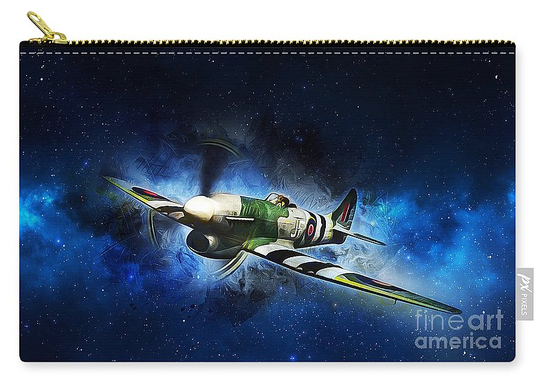 Hawker Typhoon Carry-all Pouch featuring the painting Hawker Typhoon by Ian Mitchell
