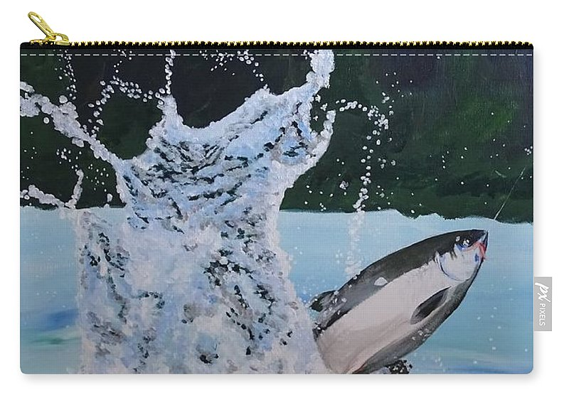 Fishing Carry-all Pouch featuring the painting Splash Catch by Amelia Emery