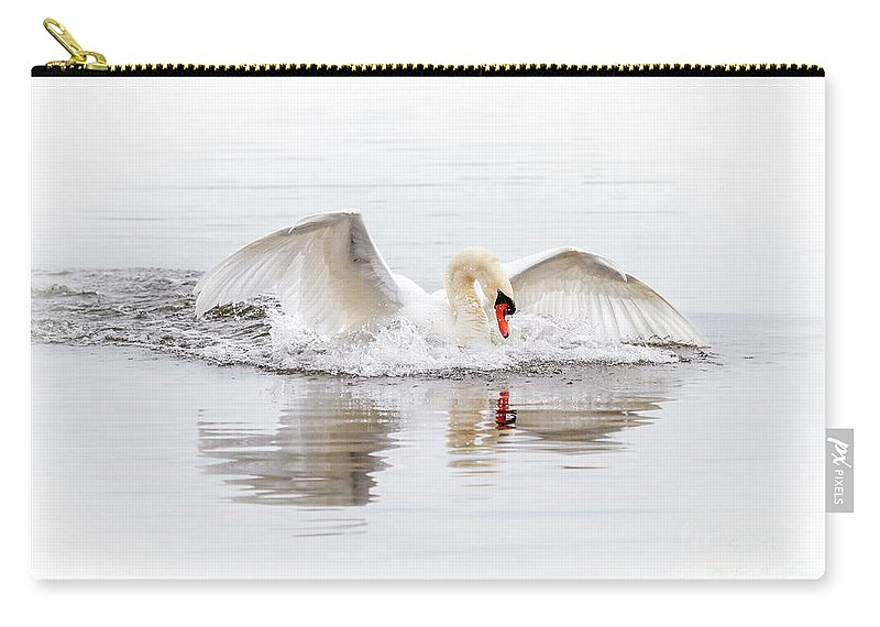 Mute Swan Carry-all Pouch featuring the photograph Splash Landing I by Karen Jorstad