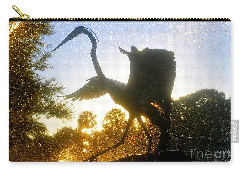 Great Blue Heron Carry-all Pouch featuring the photograph Splashing Heron by David Lee Thompson