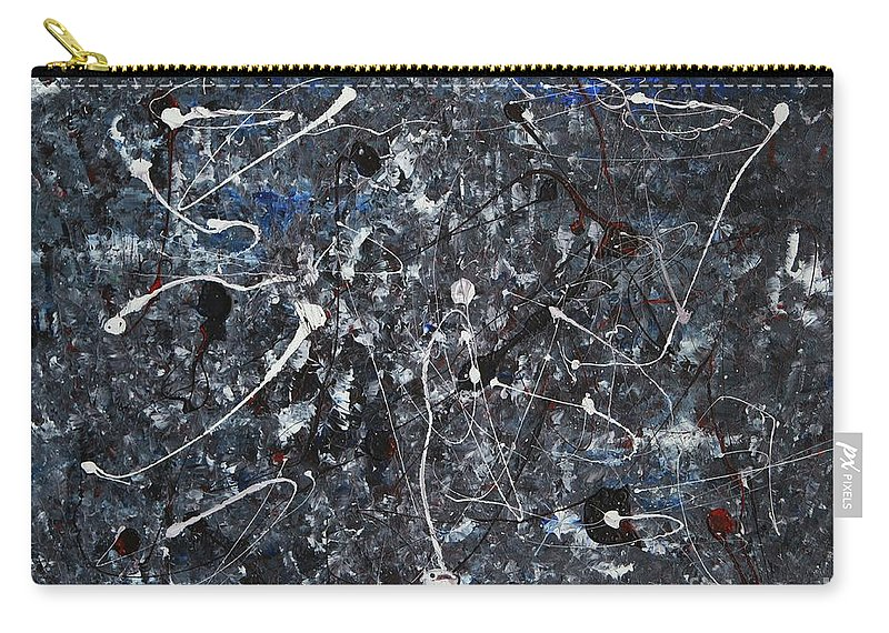 Splatter Carry-all Pouch featuring the painting Splattered - Grey by Jacqueline Athmann