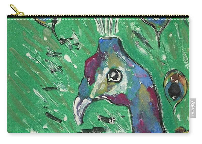 Peacock Carry-all Pouch featuring the mixed media Splendor Is The Night by Cori Solomon