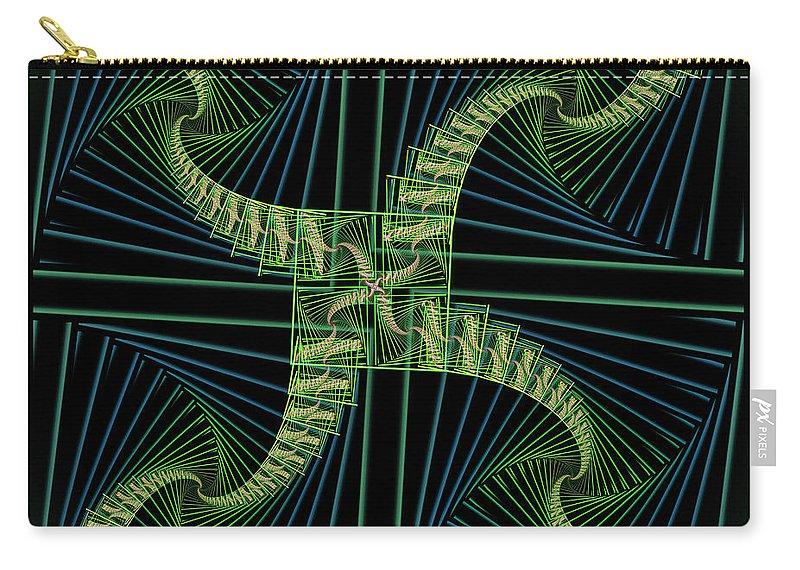 Fractal Carry-all Pouch featuring the digital art Splits Bow by Deborah Benoit