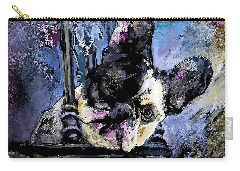 Dog Painting Carry-all Pouch featuring the painting Spok by Miki De Goodaboom