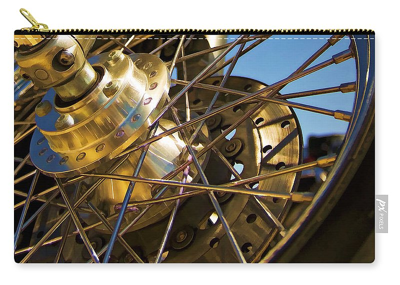 Motorcycle Carry-all Pouch featuring the photograph Spokes by Ricky Barnard
